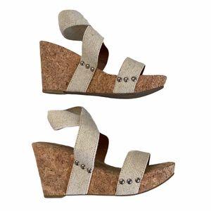 Lucky Brand Cork Wedge Cream Sandals